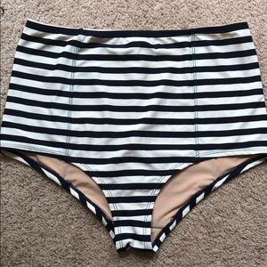 Jcrew striped high rise bikini bottoms